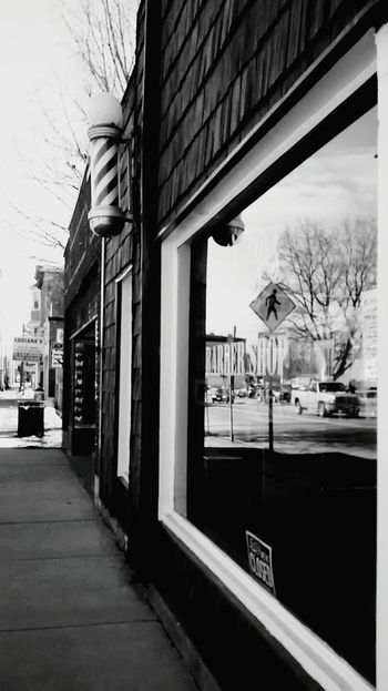 OpenEdit Barbershop Old Town Advertisement Reflection Walking Around Sidewalk Black And White Photography Monochrome Hometown Scenery Up Close Street Photography Up Close With Street Photography From Where I Stand Check This Out Blackandwhite Photography Blackandwhitephotography Black And White Collection  Streetphotography Small Town America