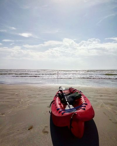 Kayak Kayaking Water Sea Beach Red Sand Wave Sky Horizon Over Water Cloud - Sky Low Tide Coast Surf Tide Seascape Coastline Coastal Feature Shore Rushing Crashing