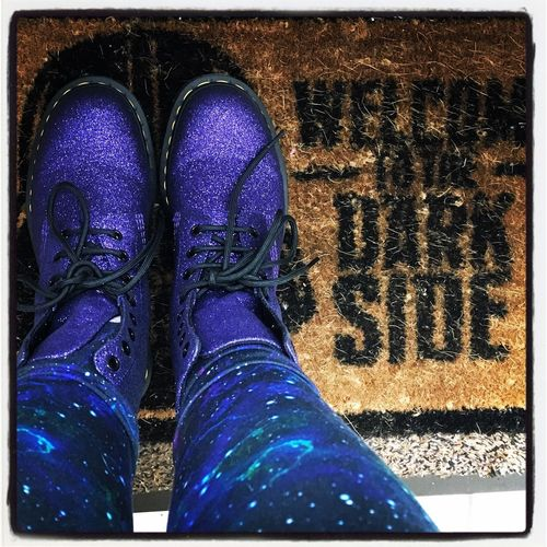 Boots Leggings Welcome To The Dark Side Legs Dr Martens Boots Door Mat Galaxy Purple Second Acts
