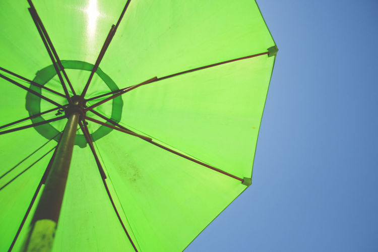 Green umbrella over blue sky California Drought USA Below Blue Clear Sky Day Green Color Heat Low Angle View Neon No People Outdoors Protection Shelter Sky Sonoma County Summer Sun Sun Protection Umbrella Wide Angle