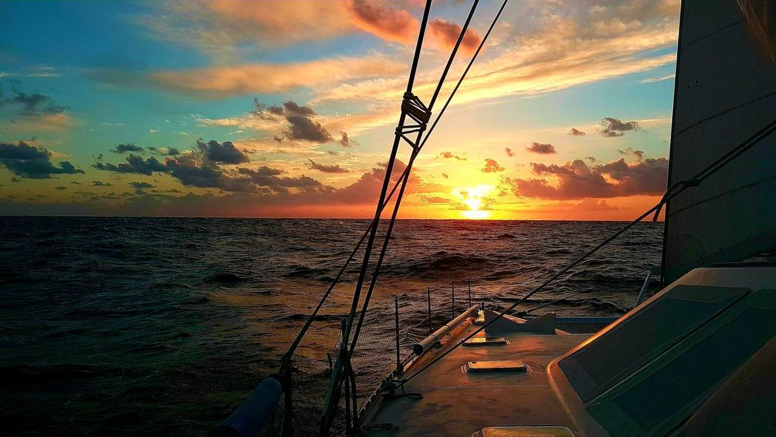Sunset Cloud - Sky Sky Sea Nature Scenics Water No People Silhouette Beauty In Nature Outdoors Beach Horizon Over Water Day Nautical Vessel Atlantic Crossing Atlantic Ocean Oceanlife Weather Landscape Tranquility Vacations Travel Destinations Tropical Climate Sail Away, Sail Away