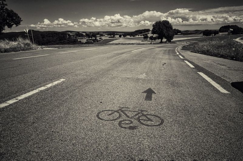 Road Marking Road E Bike The Way Forward Text Communication Nature Bicycle Lane Scenics Landscape Beauty In Nature Tree Daily Inspiration Capture The Moment Melancholic Landscapes Vienna Alps Austria A Photo Like A Painting Cloud - Sky EyeEm Selects