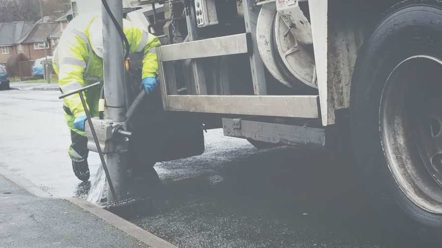 Cleaning Street Cleaner Lorry Vehicle Manhole Cover Drain Cleaning Drainage Council Lorry Cleaning The Drains