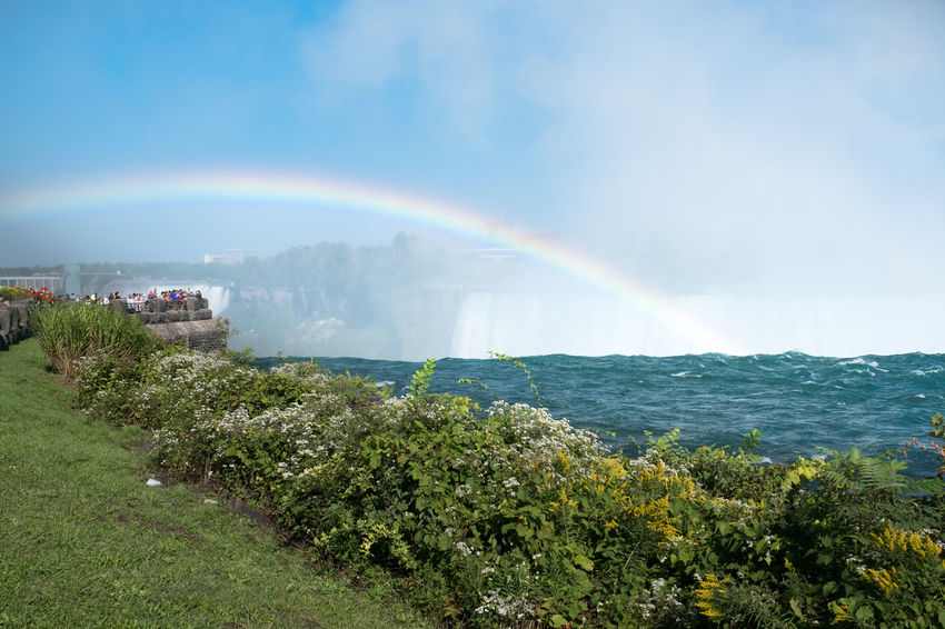 Niagara Falls Niagara Falls Architecture Beauty In Nature Building Exterior Built Structure Day Double Rainbow Growth Mountain Nature No People Outdoors Rainbow Scenics Sky Tranquility Tree Water Perspective On Nature