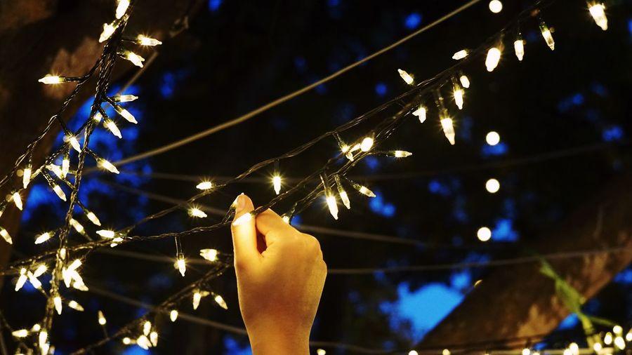 Christmas Lights Winter Glowing Illuminated Human Hand Lighting Equipment Night Holding Light Christmas Outdoors