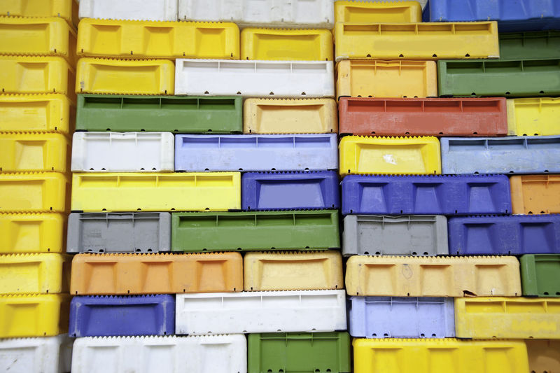 Full Frame Shot Of Colorful Crates