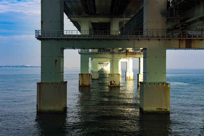 Water Sea Architecture Built Structure Sky No People Nature Waterfront Day Connection Bridge Transportation Bridge - Man Made Structure Pier Outdoors Horizon Scenics - Nature Horizon Over Water Beauty In Nature Architectural Column EyeEmNewHere