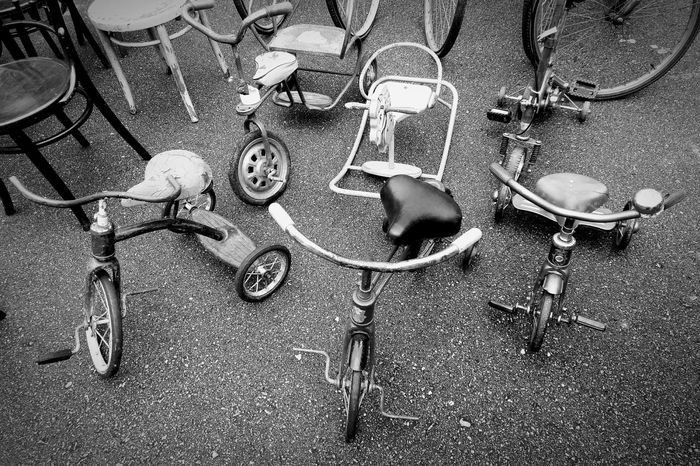 High Angle View Outdoors Classic Bicycle Tricycle Retro Retro Styled Black & White City City Street City Life Antique Black And White Friday