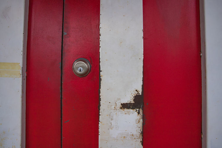 red and white door Backgrounds Close-up Day Door Full Frame Hinge House Keyhole No People Outdoors Protection Red Safety Secret Security Street Streetphotography Textured  Town