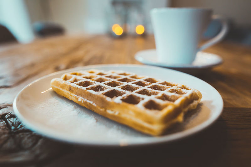 Close-up of waffle in plate on table