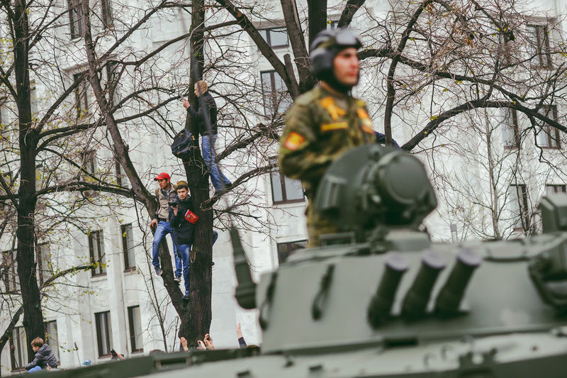 Military Parade in Moscow, May 9, 2017 Adult Bare Tree Branch Day Equipment Events Hardhat  Headwear Helmet Low Angle View May 9 Men Military Outdoors Parade People Real People Soviet Union Street Tree Victory Day World War The Street Photographer - 2017 EyeEm Awards