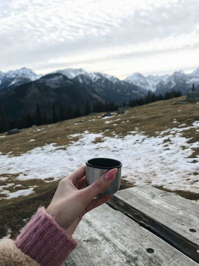 Hand holding ice cream on snowcapped mountain