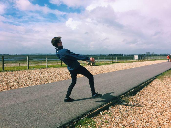 Windy Windy Day Lanky Legs :-) Man Walking Going For A Walk
