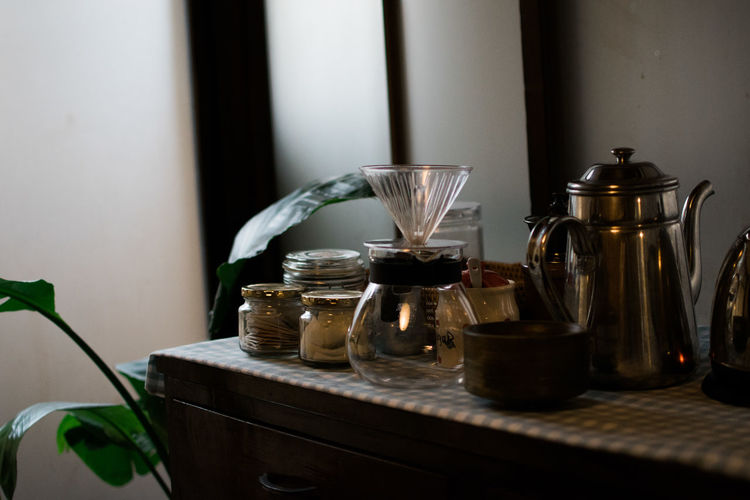 Close-up of jar on table at home