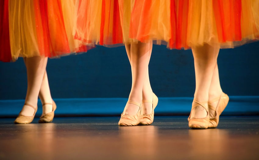 Low Section Of Ballerinas On Stage