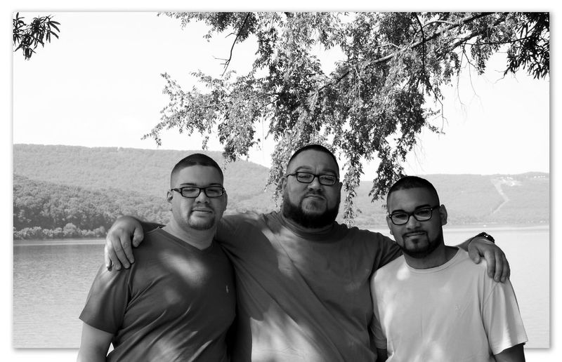 People and places Men Father And Sons Bonding Family Time Togetherness Tennessee River  Black And White Portrait Photography