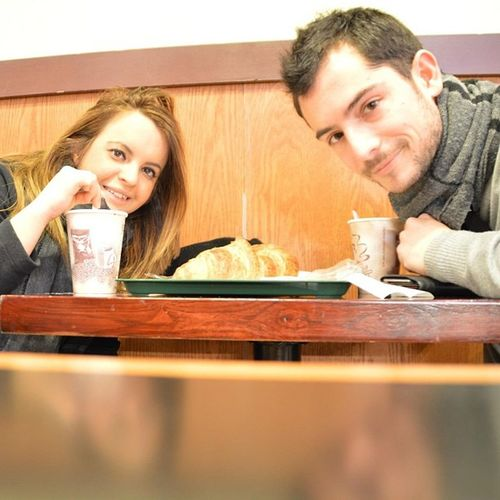 Me Husband Newyork Manhattan Love Honeymoon Breakfast Food Croassaint Cappuccino Coffee