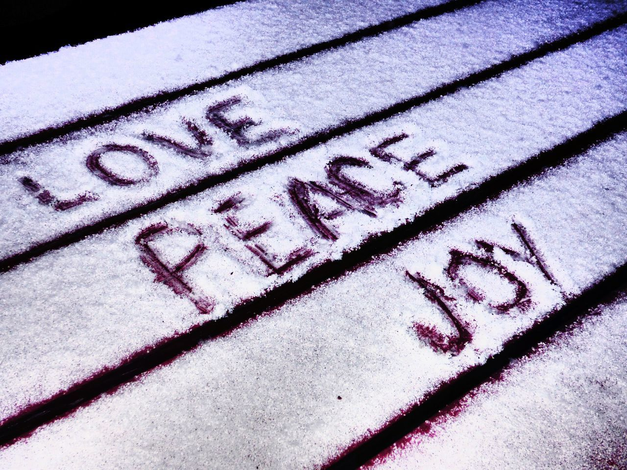 Text On Snow Covered Wooden Bench