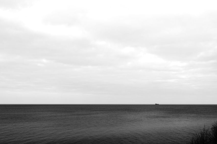 Abstract Photography Container Ship Abstract Beauty In Nature Black And White Blackandwhite Cloud - Sky Day Grey Sky Horizon Over Water Nature No People Outdoors rule of thirds Scenics Sea Seascape Ship Far Away Sky Tranquil Scene Tranquility Water