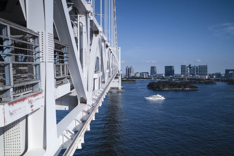 View of the tokyo bay during the day from the rainbow bridge in odaiba. landscape orientation.