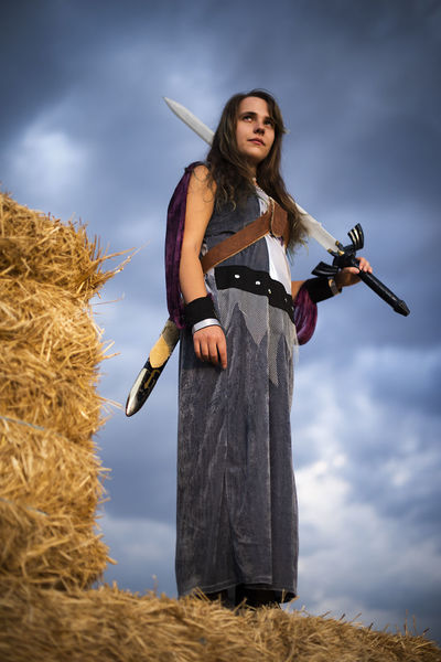 Women fight Fighter Sword Be Brave Portrait Rural Scene Standing Beautiful Woman Arts Culture And Entertainment Traditional Clothing Sky Cloud - Sky