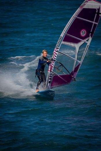 Water Transportation Nautical Vessel One Person Day Motion Outdoors Adventure Full Length Men One Man Only People Nature Adult Adults Only Only Men Windsurfing GYBE
