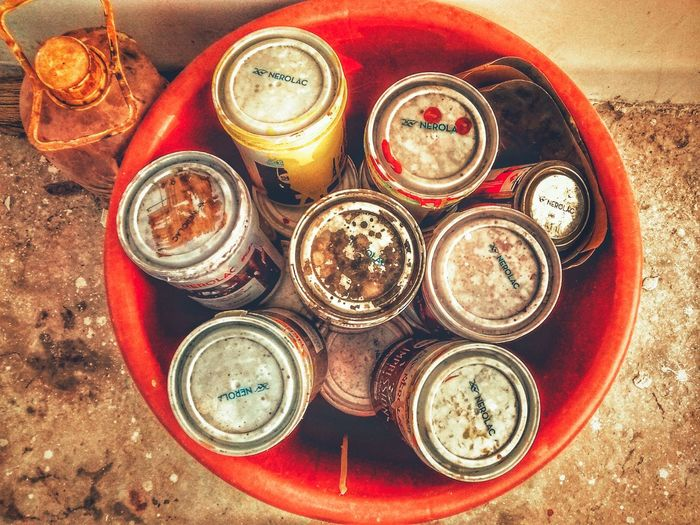 paint cans EyeEm Selects Paint Painting Colors Colorful Tin Container PhonePhotography Mobilephotography Directly Above High Angle View For Sale