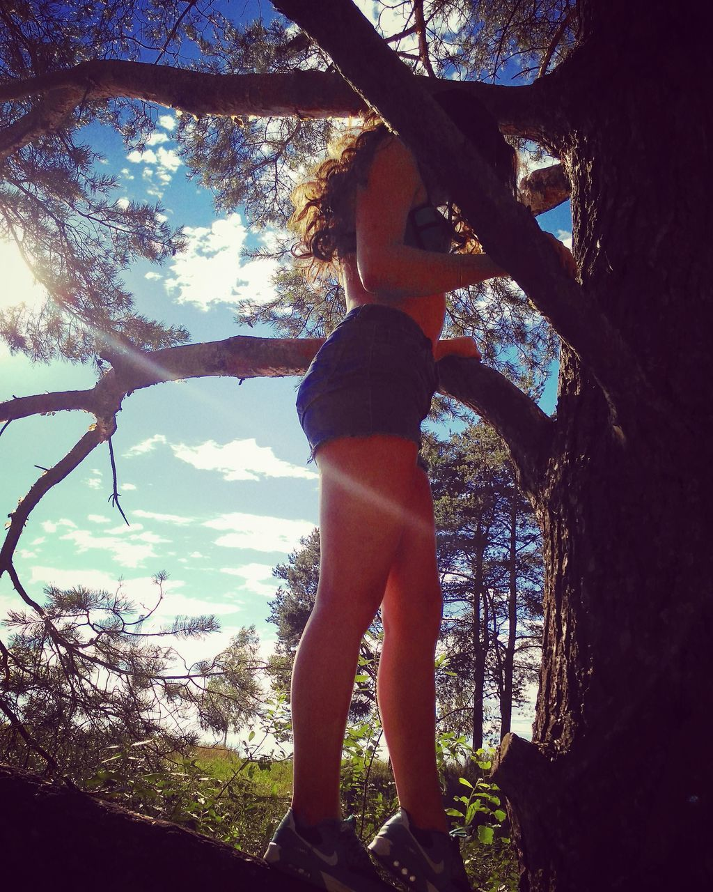 tree, tree trunk, branch, one person, standing, rear view, real people, nature, day, growth, full length, leisure activity, outdoors, sky, beauty in nature, low angle view, lifestyles, scenics, bare tree, young women, rope swing, young adult, people