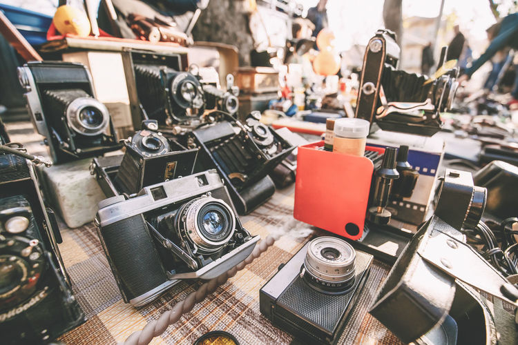 Close-up of old cameras for sale