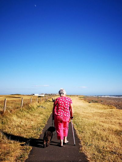 Full length rear view of woman with dog walking on road against clear sky during sunny day