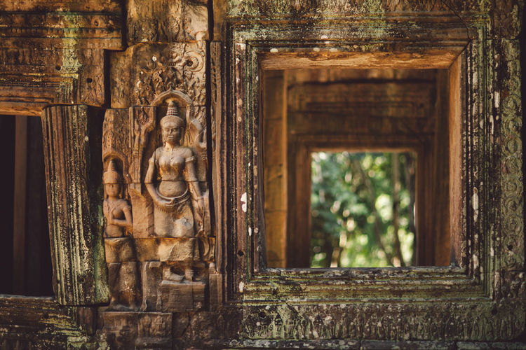 Siem Reap Cambodia Angkor Art And Craft Architecture Built Structure Sculpture Craft History Creativity Human Representation Building Representation The Past Day Travel Destinations Ancient Belief Religion Statue Place Of Worship No People Spirituality Architectural Column Outdoors Ancient Civilization
