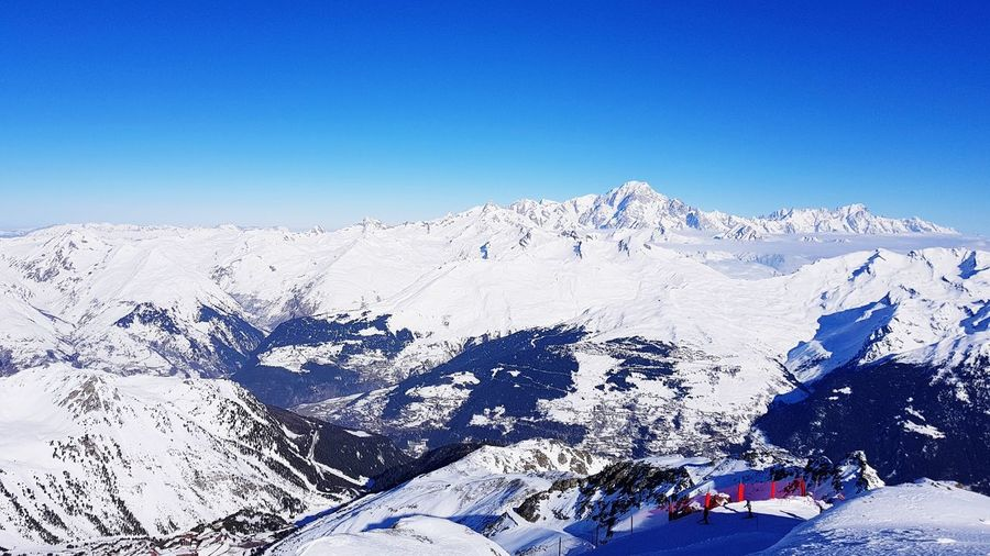Mountain Snow Cold Temperature Clear Sky Snowcapped Mountain Sky Landscape Mountain Range Ski Track Rocky Mountains Snowboarding Physical Geography Powder Snow