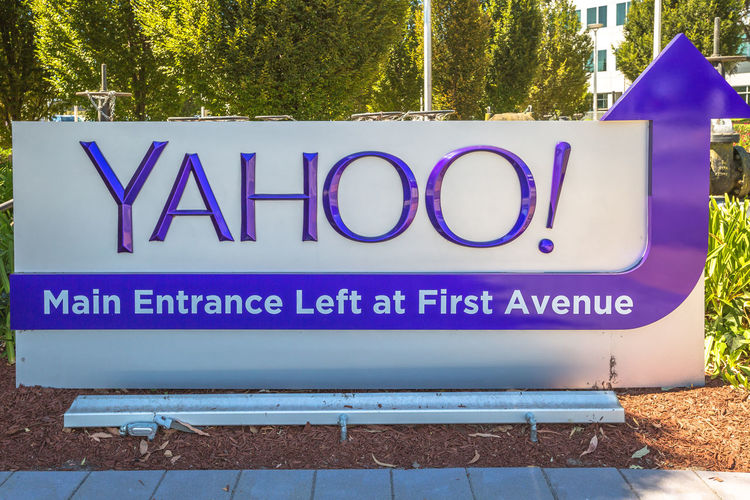 Sunnyvale, California, United States - August 15, 2016: Yahoo Headquarters facade building. Yahoo is a multinational technology company that is known for its web portal. Company Multinational Sunnyvale USA United States Yahooweather America Building Capital Letter Close-up Communication Day Headquarters Hq No People Outdoors Search Engine Street Sunnyvale Street Text Tree Western Script Yahoo