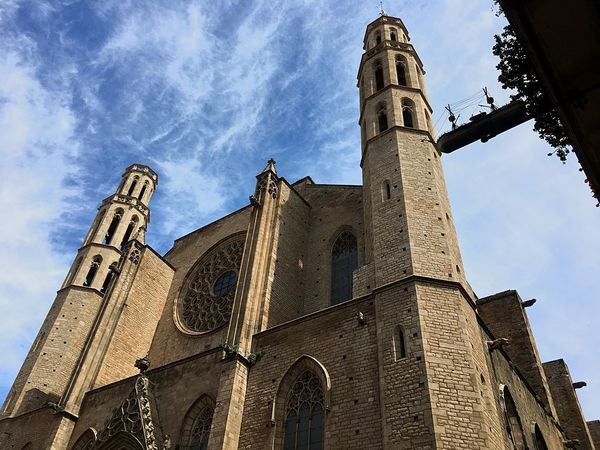 Church Architecture Santa Maria Del Mar Barcelona Gothic Church Low Angle View Built Structure Architecture Building Exterior Sky Building Nature