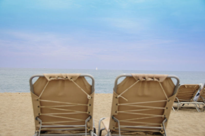 Liegestuhl Urlaub Relaxing Erholung Weite Meer Strand Sea Horizon Over Water Water Horizon Sky Beach Chair Land Tranquility Scenics - Nature Tranquil Scene Nature Beauty In Nature Seat No People Day Absence Sand Outdoors Ocean