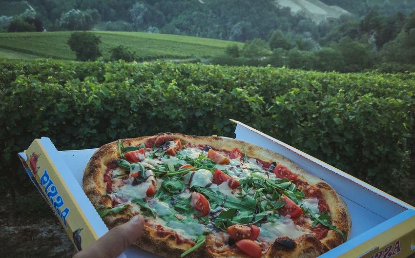 Pizza with a view of Langhe, Unesco Heritage Moody Food Wildlife Nature Pizza
