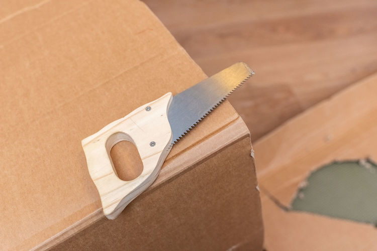 High angle view of paper in box