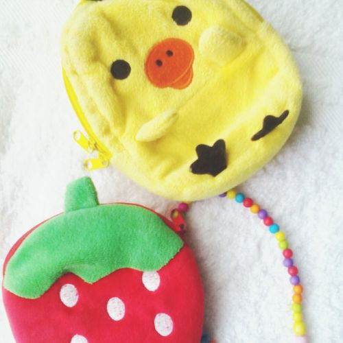 Lovin' my duck and strawberry coin purse Duckie Lovie♥ Happiness ♡ Strawberry Redwhite Polkadots 🐤🍓