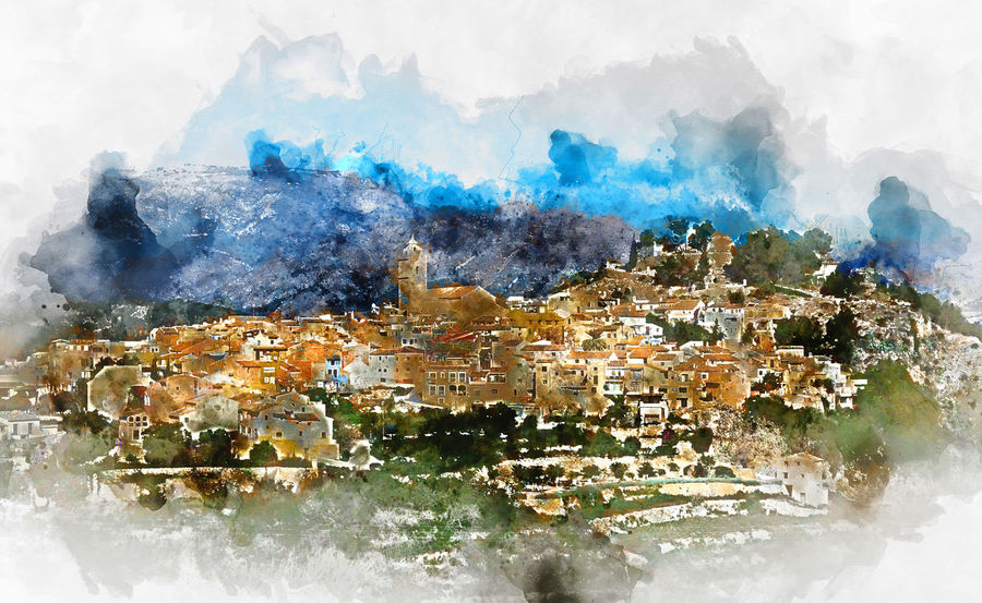 Digital watercolor painting of a spanish village Polop de la Marina. Province of Alicante, Costa Blanca. Spain Alicante Province Spain Mediterranean  Polop De La Marina SPAIN TOWNSCAPE Watercolour Cityscape Digital Art Digital Illustration Digitally Altered Digitally Generated Digitally Generated Image Europe Illustration Landscape Marina Baixa Mountain Outdoors Polop Town Travel Destinations Village Watercolor Watercolor Painting Watercolour Painting