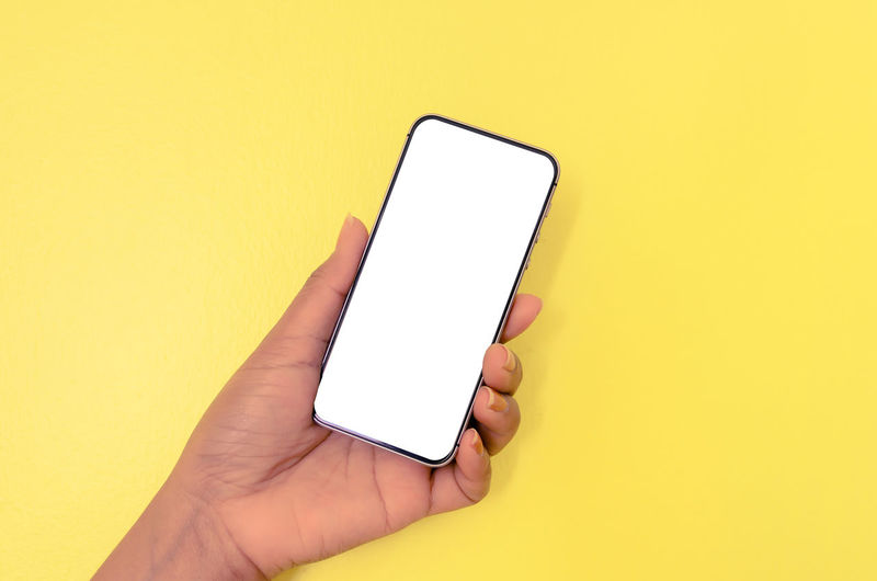 Low section of person holding smart phone