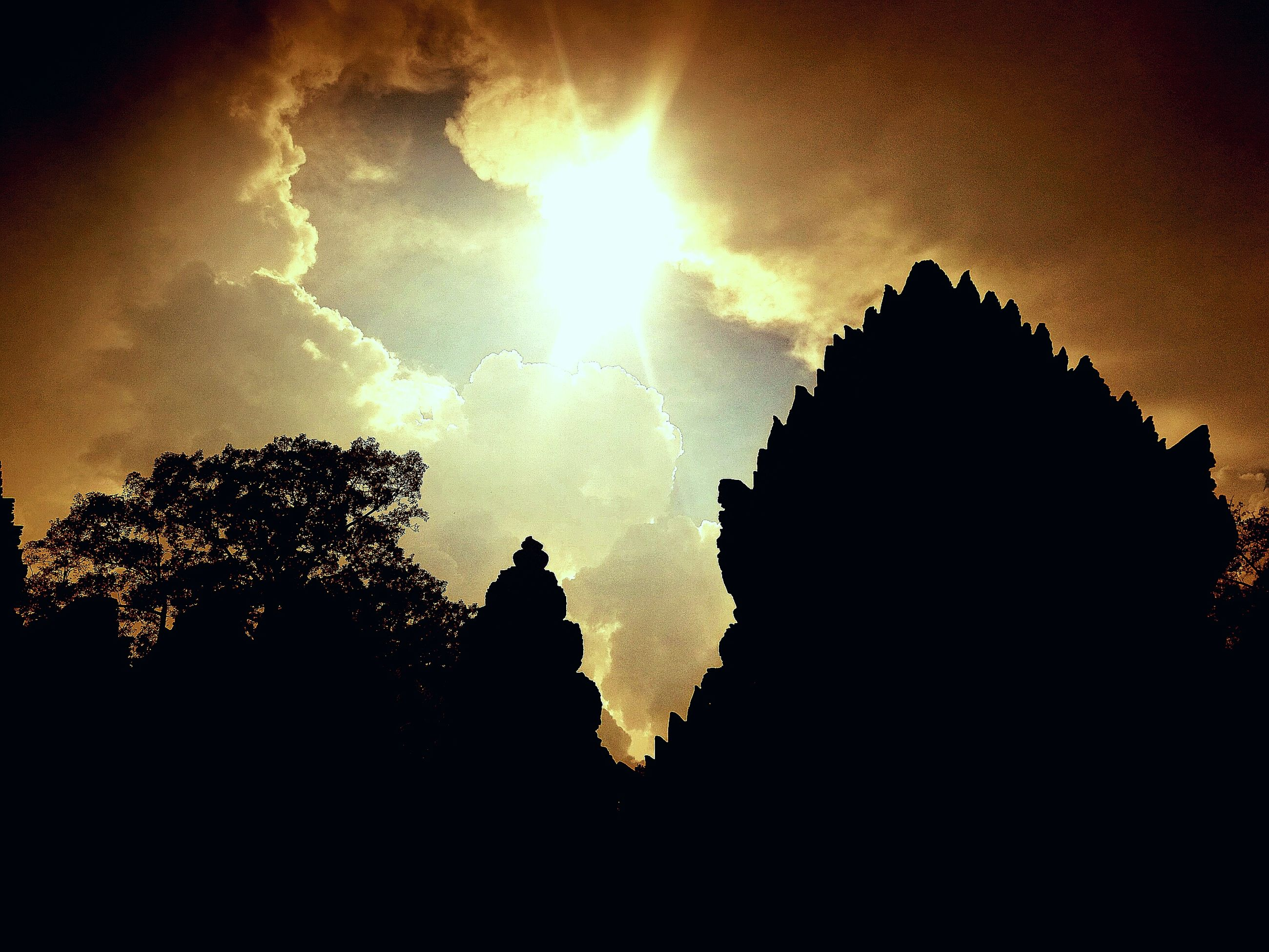 silhouette, tree, low angle view, outline, sky, cloud, outdoors, nature, tranquility, no people, solitude