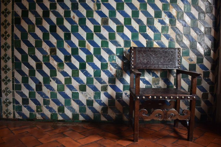 Chair against Wall Chair Change Geometric Shapes Indoors  Leather Chairs Palace Pattern Porcelain Tile Portugal Sintra Palace Park Tile Work