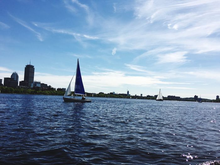 Water Cloud - Sky Sailboat Waterfront Nautical Vessel Sky Day Charles River Boston, Massachusetts