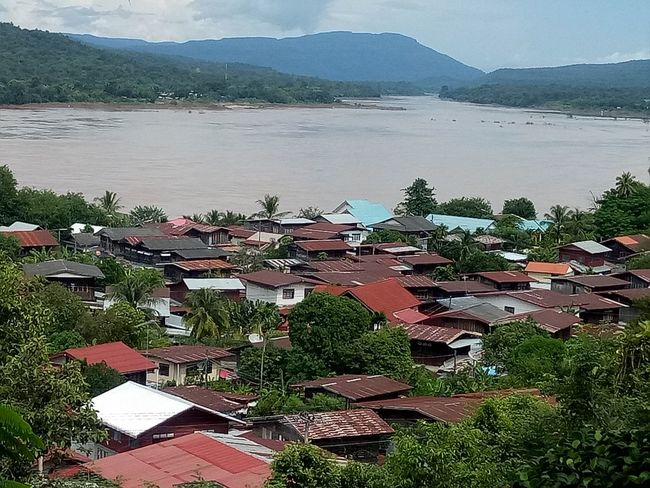 River Landscape Mekong River Village Outdoors Day No People Sky Mountain Village View Thailand