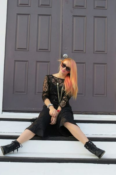 Pretty Girl Black Dress Goth Blonde Girl Church Steps