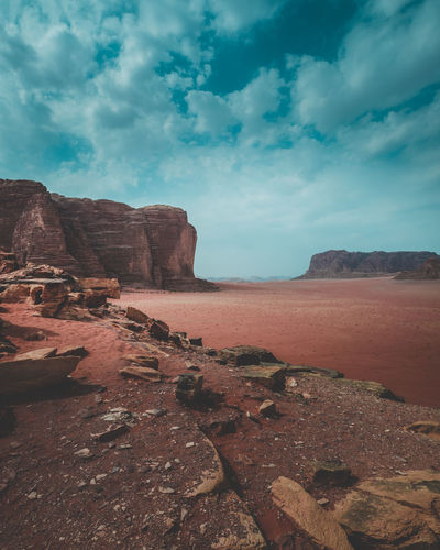 Tranquil Scene Beauty In Nature Rock Arid Climate Environment Nature Landscape Outdoors Desert Jordan Jordanie Middle East Bedouin Arab Oriental Blue Sky Sunny Crazy Place Mountain Valley Cloud - Sky No People Red Sand Point Of View Hike
