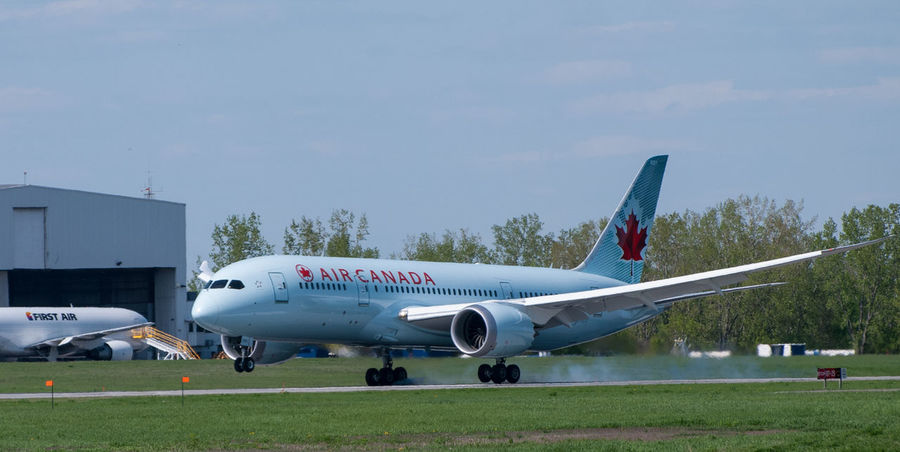 Air Canada 787 Dreamliner. Airplane Airport Runway Mode Of Transport Commercial Airplane Transportation Airport Sky Air Vehicle Aerospace Industry Boeing 787