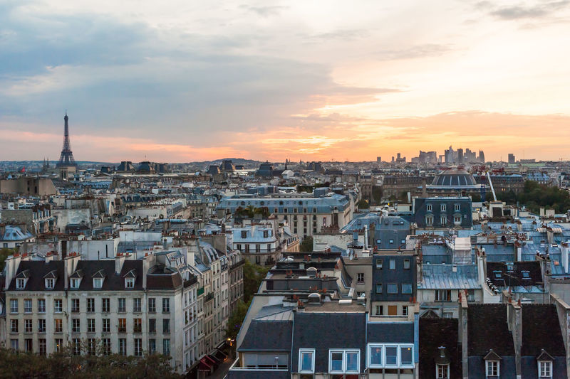 Paris skyline at sunset Paris Paris City View Paris Sunset Paris, France  Architecture Building Exterior Built Structure City Cityscape Cloud - Sky Crowded Day High Angle View Outdoors Paris Cityscape Residential  Residential Building Residential District Sky Sunset Tour Effeil Travel Destinations