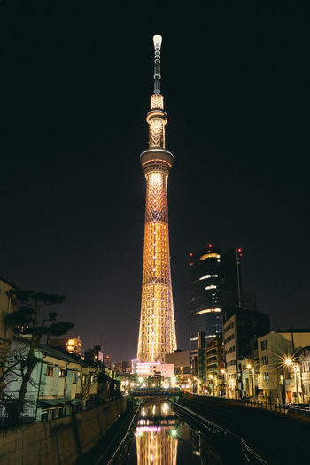 Tokyo. Architecture Building Exterior Built Structure City Illuminated Low Angle View Night No People Outdoors Sky Tall - High Tourism Tower Travel Travel Destinations