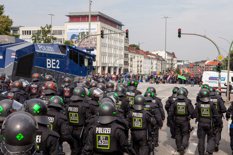 Arquitecture Building Exterior City Day Demonstration G20 Meeting G20 Summit G20! Hamburg Kaos Men Outdoors People Police Police Force Police Uniform Real People Represion Standing Text
